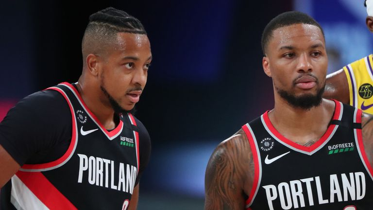 CJ McCollum and Damian Lillard pictured during Portland's Game 1 win over the Lakers