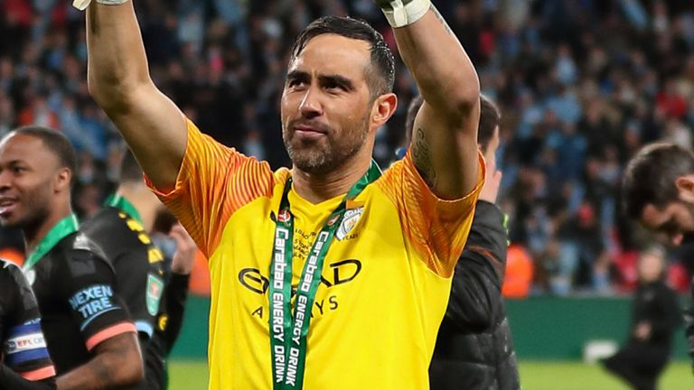 Bravo was in goal for Manchester City's EFL Cup victory against Aston Villa in his final season at the club