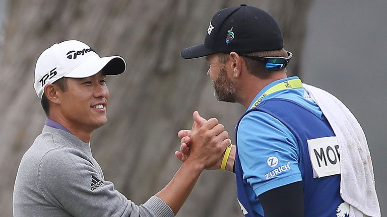 Morikawa celebrates with his caddie before facing the media, and Steph Curry!