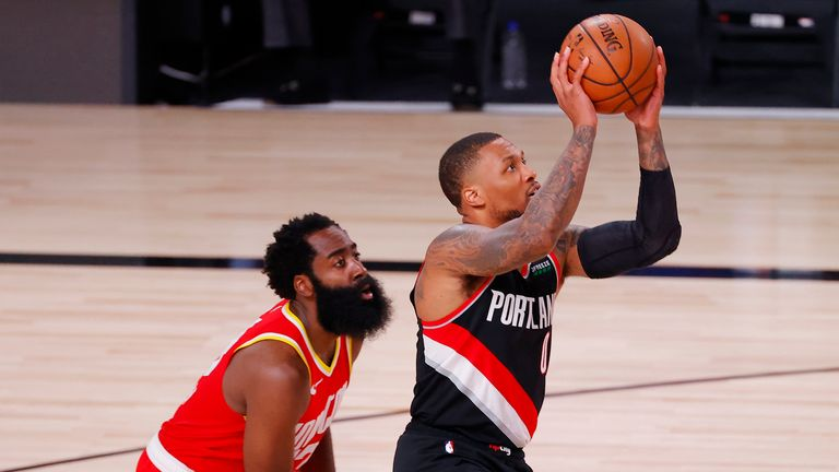 Damian Lillard in action against the Rockets