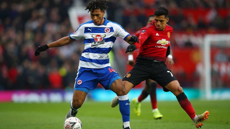Danny Loader and Alexis Sanchez during the FA Cup Third Round match between Manchester United and Reading at Old Trafford on January 5, 2019 in Manchester, United Kingdom.