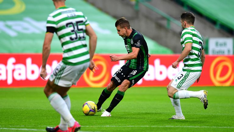 Siger finds the bottom corner with his low drive after Celtic fail to clear