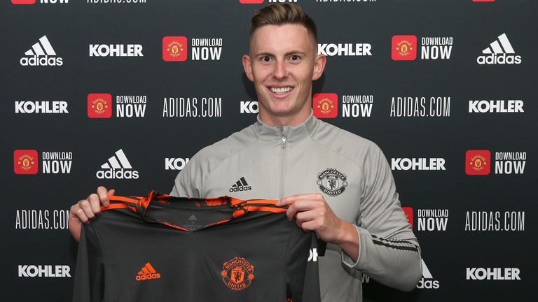 MANCHESTER, ENGLAND - AUGUST 26: (EXCLUSIVE COVERAGE) Dean Henderson of Manchester United poses after signing a new contract with the club at Aon Training Complex on August 26, 2020 in Manchester, England. (Photo by John Peters/Manchester United via Getty Images)