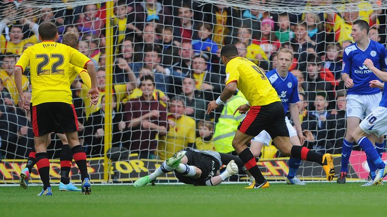 Troy Deeney scores the winner for Watford against Leicester in the second lefg of their Championship play-off semi final back in 2013.
