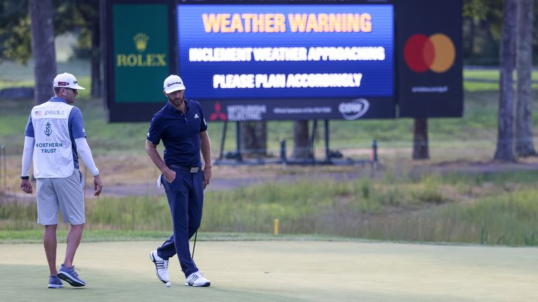 Play was suspended for an hour with storms in the area