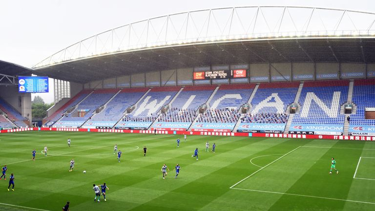 A general view of the DW Stadium during the Sky Bet Championship match between Wigan and Blackburn