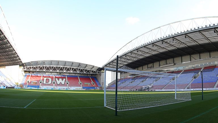 A general view of the DW Stadium, home of Wigan Athletic