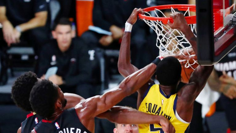 Indiana Pacers guard Edmond Sumner dunks against  Miami Heat