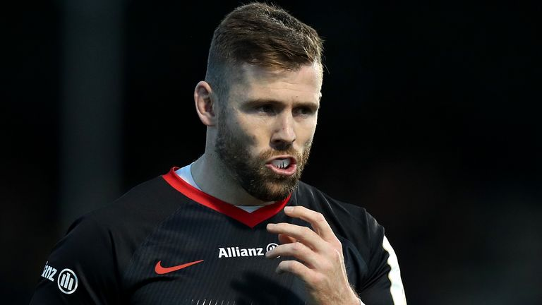 Elliot Daly of Saracens looks on during the Heineken Champions Cup Round 4 match between Saracens and Munster Rugby at Allianz Park on December 14, 2019 in Barnet, England.