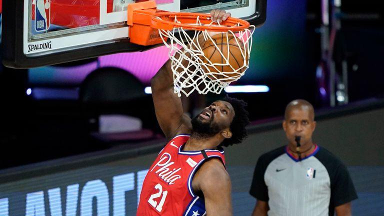 Joel Embiid dunks for the Philadelphia 76ers