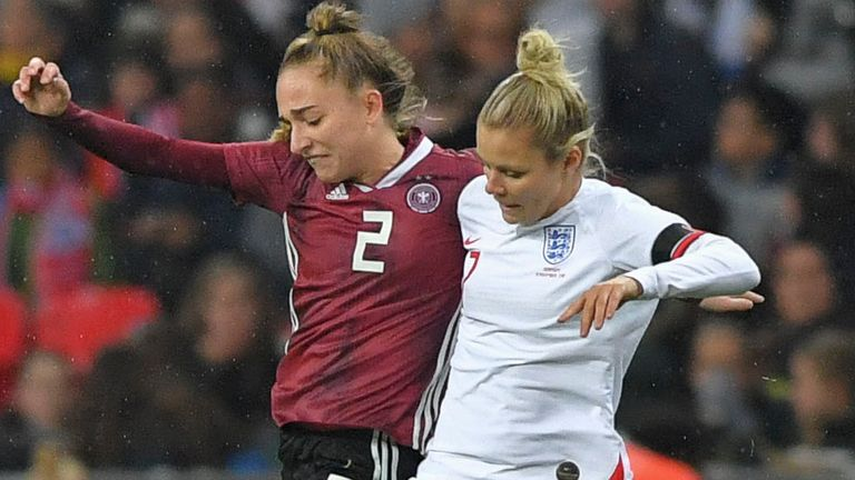 Rachel Daly tackles Sophia Kleinherne during Germany's 2-1 win over England at Wembley in November