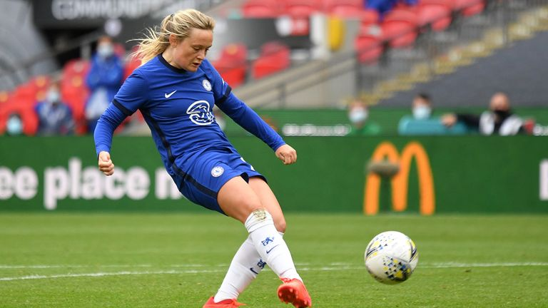 Erin Cuthbert of Chelsea scores her team's second goal during the Women's FA Community Shield Final at Wembley