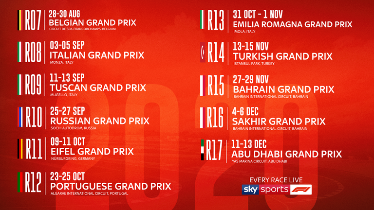 Six down, 11 to go... the forthcoming races on the 2020 F1 calendar, starting with the Belgian GP this weekend