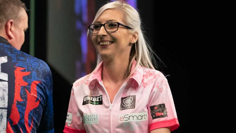 Fallon Sherrock during her match against Glen Durrant in the 2020 Unibet Premier League