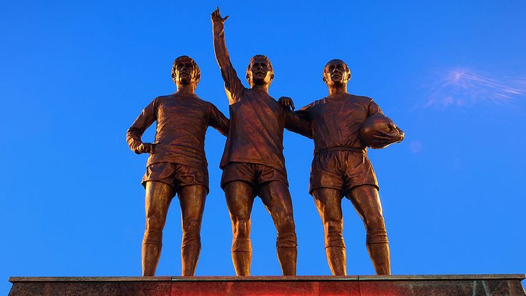 Charlton's brother Bobby has been immortalised alongside George Best and Denis Law outside Old Trafford