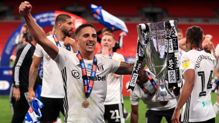 "Fulham...s Anthony Knockaert celebrates with the trophy after the Sky Bet Championship Play Off Final at Wembley Stadium, London. PA Photo. Issue date: Tuesday August 4, 2020. See PA story SOCCER Championship. Photo credit should read: Mike Egerton/PA Wire...EDITORIAL USE ONLY No use with unauthorised audio, video, data, fixture lists, club/league logos or ""live"" services. Online in-match use limited to 120 images, no video emulation. No use in betting, games or single club/league/player publications."