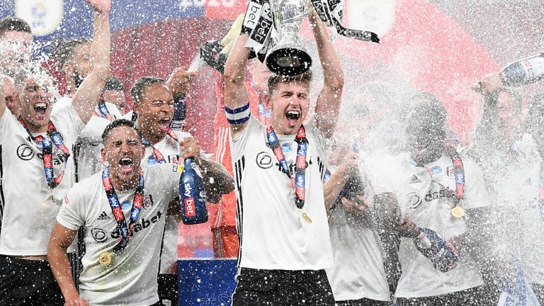 Fulham celebrated their promotion in an empty Wembley Stadium amid the coronavirus pandemic