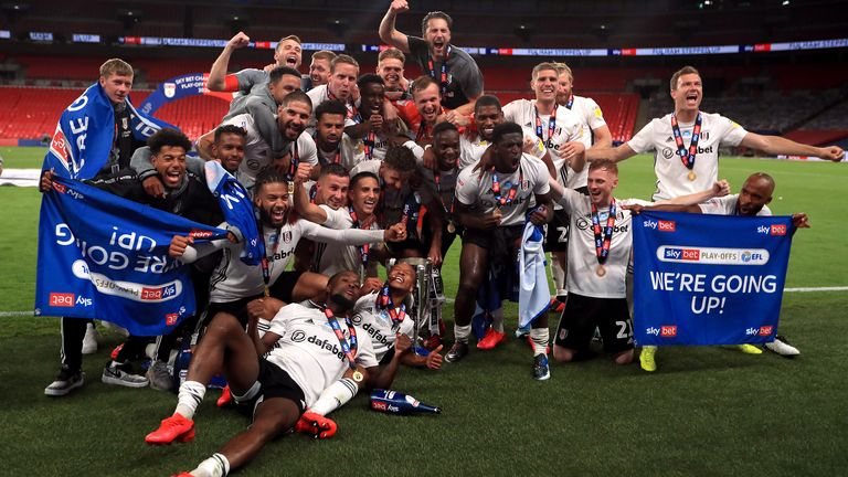 "Fulham celebrate with the trophy after winning the Sky Bet Championship Play Off Final at Wembley Stadium, London. PA Photo. Issue date: Tuesday August 4, 2020. See PA story SOCCER Championship. Photo credit should read: Mike Egerton/PA Wire...EDITORIAL USE ONLY No use with unauthorised audio, video, data, fixture lists, club/league logos or ""live"" services. Online in-match use limited to 120 images, no video emulation. No use in betting, games or single club/league/player publications."