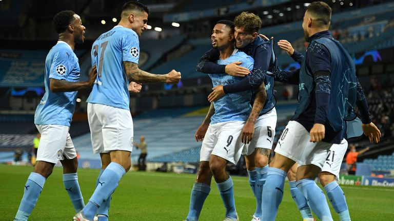 Gabriel Jesus celebrates his goal with team-mates
