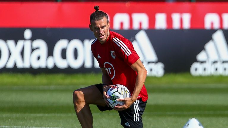 Wales' forward Gareth Bale attends a training session at The Vale Resort near Hensol in South Wales on August 31, 2020 ahead of their UEFA Nations League international football match against Finland