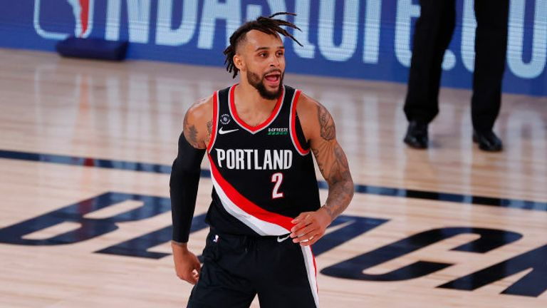 Gary Trent Jr. of the Portland Trail Blazers reacts during the second half against the Houston Rockets