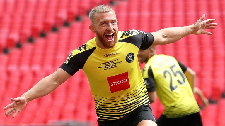 George Thomson of Harrogate Town celebrates after scoring his sides first goal during the Vanarama National League Play Off Final match between Harrogate Town and Notts County