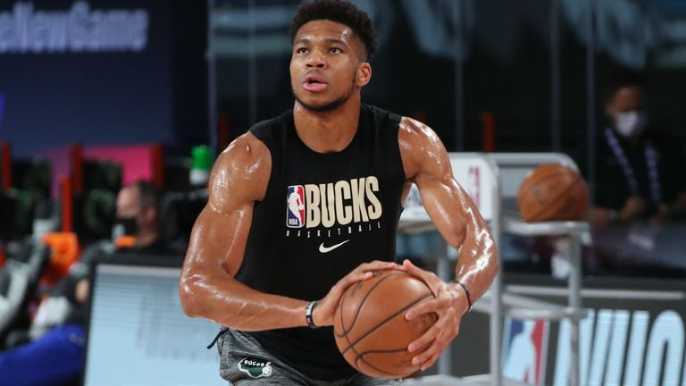 Reigning NBA MVP Giannis Antetokounmpo warmed up on court ahead of Game 5