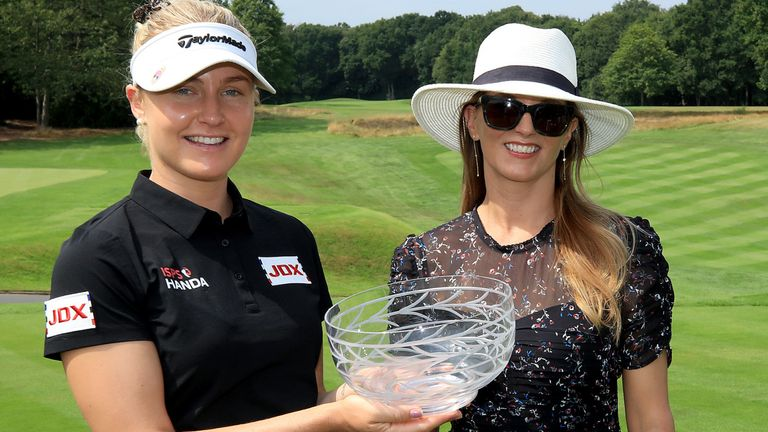 Charley Hull, pictured alongside tournament organiser, won the Rose Ladies Series Order of Merit