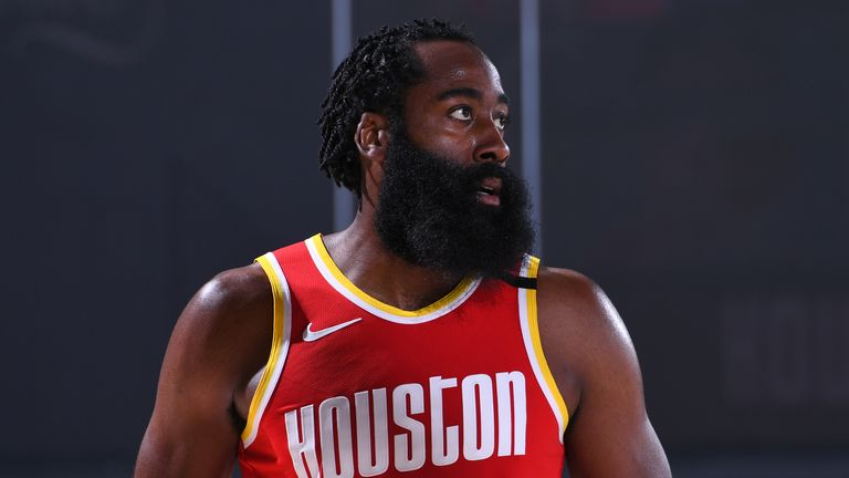 James Harden #13 of the Houston Rockets looks on during the game against the Indiana Pacers on August 12, 2020 at The AdventHealth Arena at ESPN Wide World Of Sports Complex in Orlando, Florida.