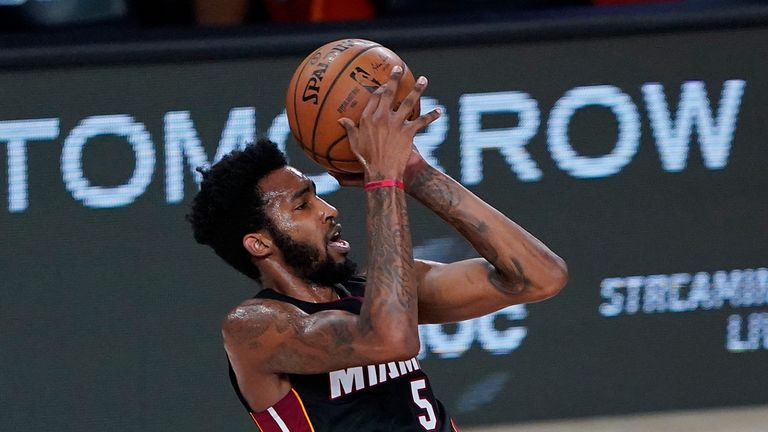 Miami Heat's Derrick Jones Jr. shoots against the Indiana Pacers