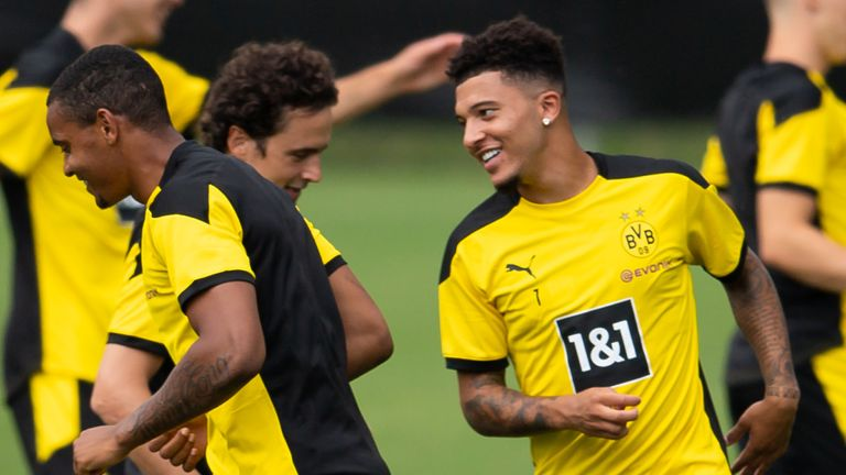 Jadon Sancho on day one of Dortmund's pre-season summer training camp