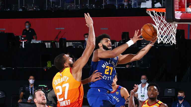 Jamal Murray of the Denver Nuggets shoots the ball against the Utah Jazz during Game Six of the NBA Playoffs