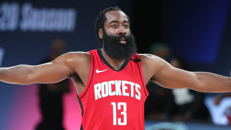 James Harden pictures during Houston's Game 2 win over Oklahoma City