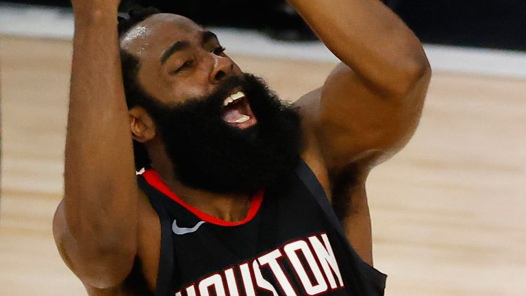 James Harden shoots a fadeaway in the Rockets' Game 5 win against the Thunder