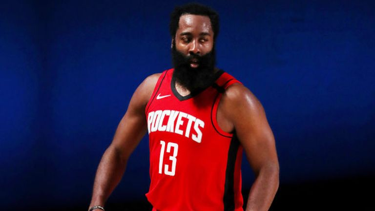 James Harden of the Houston Rockets reacts during overtime against the Dallas Mavericks