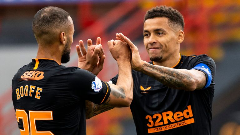 James Tavernier celebrates with Kemar Roofe after scoring to make it 2-0 to Rangers at Hamilton