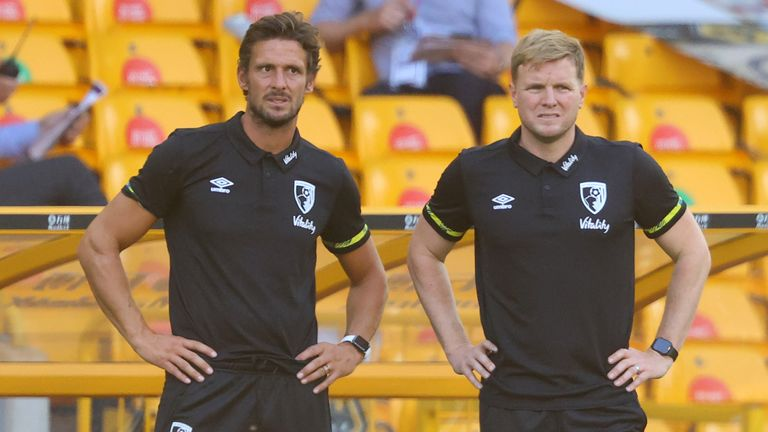 Tindall (left) is currently in interim charge after the departure of Eddie Howe