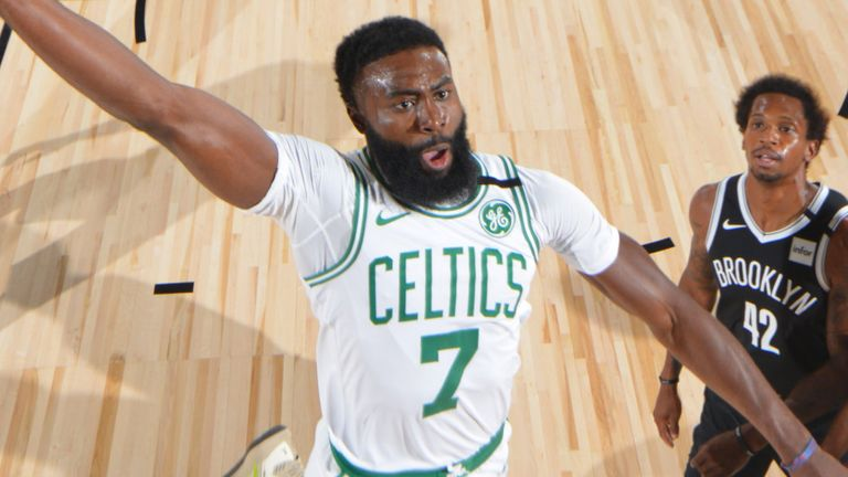 Jaylen Brown throws down a dunk in Boston's emphatic win over Brooklyn