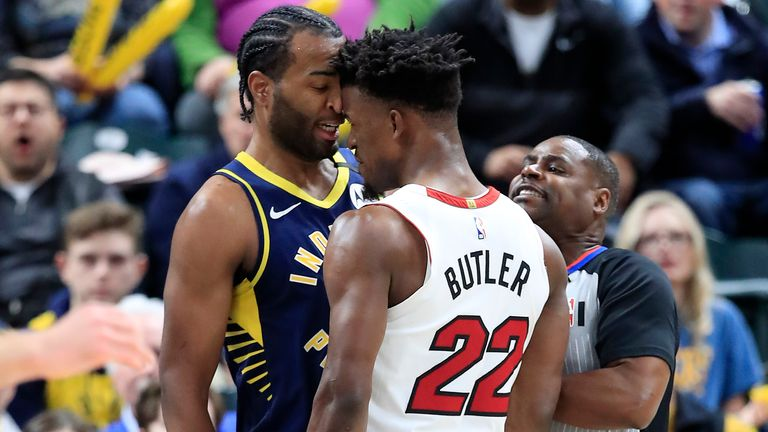 Jimmy Butler of the Miami Heat and T.J. Warren of the Indiana Pacers got involved in an argument during a game back on January 08, 2020