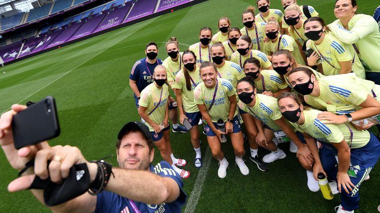 Joe Montemurro and the Arsenal Women squad inside the Anoeta Stadium where they face PSG on Saturday