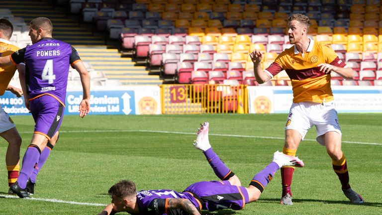 Jordan White thought he had scored a late equaliser for Motherwell but his header was chalked off for a push