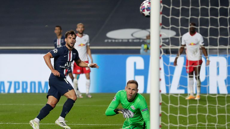 Juan Bernat glances in PSG's third to compound RB Leipzig's misery