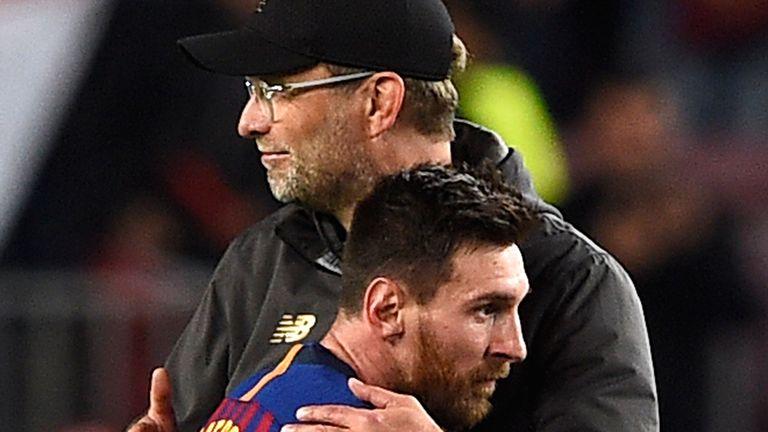 Jurgen Klopp congratulates Lionel Messi following the Champions League semi-final first leg encounter last season