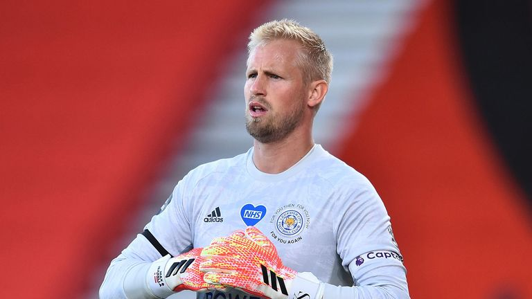 Kasper Schmeichel of Leicester City looks on during the Premier League match between AFC Bournemouth and Leicester City at Vitality Stadium on July 12, 2020 in Bournemouth, England.