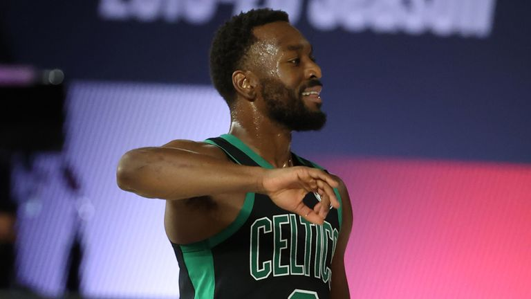 Kemba Walker celebrates a play during the Celtics' Game 1 win over the Raptors