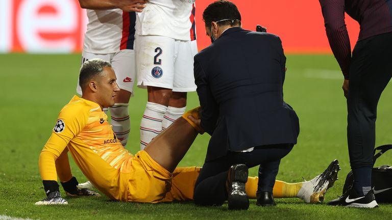 PSG goalkeeper Keylor Navas was forced off against RB Leipzig