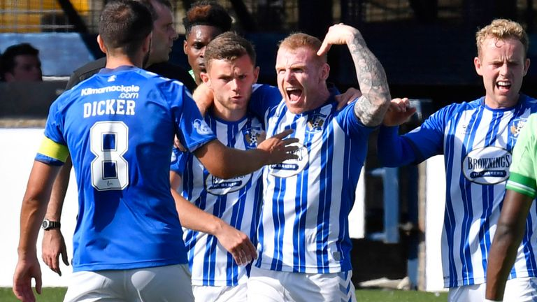 KILMARNOCK, SCOTLAND - AUGUST 09: Chris Burke celebrates after he scores a penalty for Kilmarnock to make it 1-1 during a Scottish Premiership match between Kilmarnock and Celtic at Rugby Park, on August 09, 2020, in Kilmarnock, Scotland. .(Rob Casey / SNS Group)