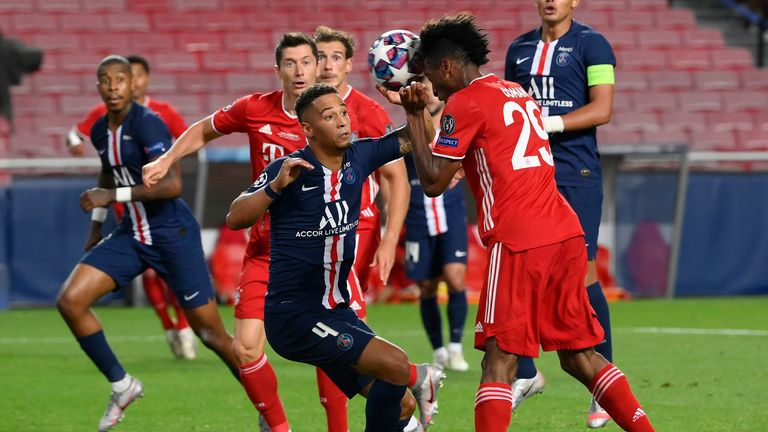 Kingsley Coman heads Bayern Munich ahead in the Champions League final