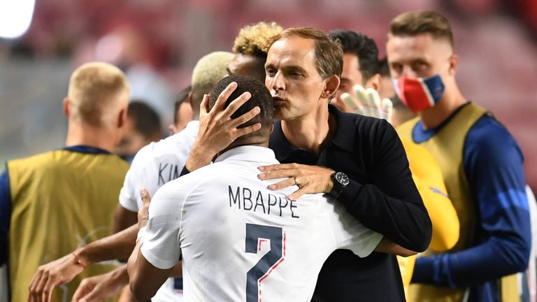 Tuchel kisses the head of Mbappe after his vibrant cameo at the Estadio da Luz