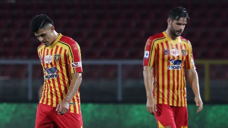 Lecce show their dejection after relegation from Serie A was confirmed